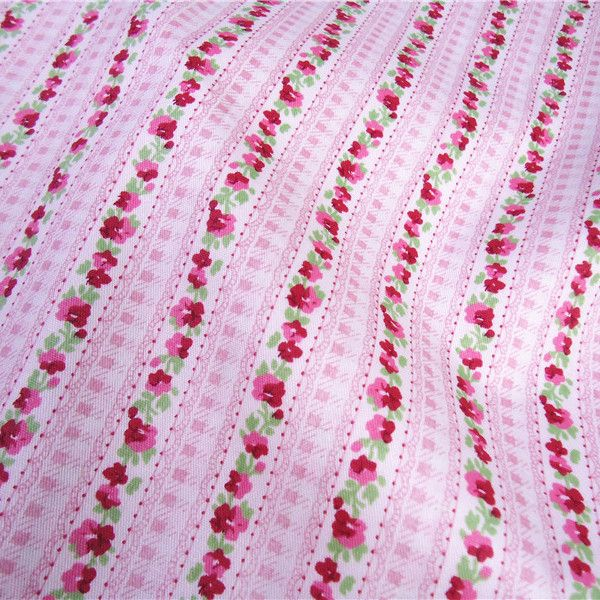 50cm*160cm pink flower stripe 100% Cotton Fabric cloth for Sewing beddings curtains pillows cushions