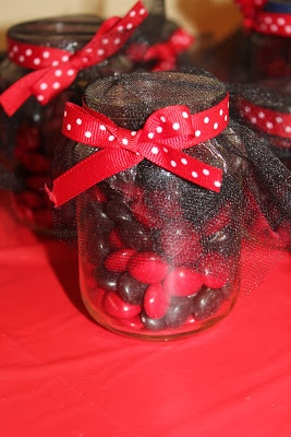 ladybug party favor - black & red jellybeans