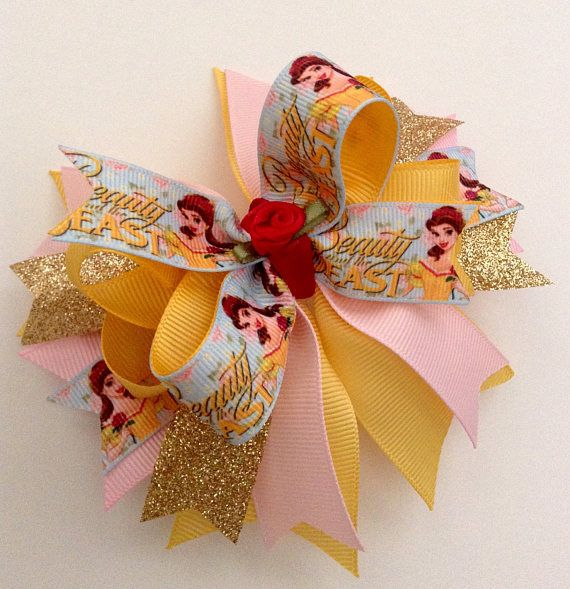 BELLE Boutique Hair Bow Beauty and the Beast Hair Bow.