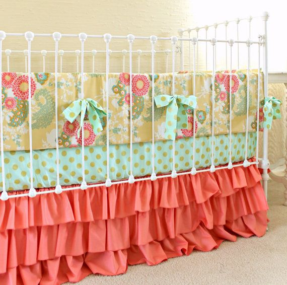 Yellow Coral Buttercup Baby Girl Crib Bedding Set by LottieDaBaby