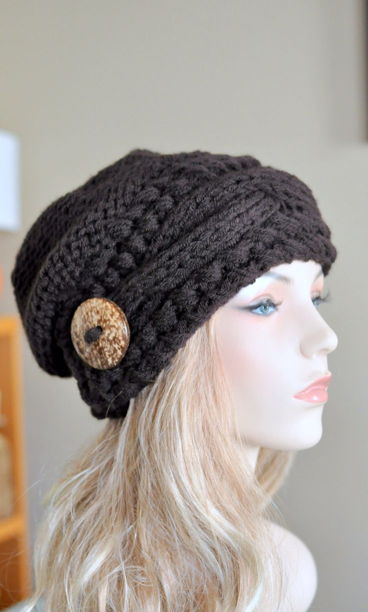 Slouchy Hat Slouch Beanie Cable Button Hat Hand Knit Winter Women Hat CHOOSE COLOR Espresso Brown Dark Chocolate Fall Chunky Christmas Gift by lucymir on Etsy https://www.etsy.com/listing/168157426/slouchy-hat-slouch-beanie-cable-button