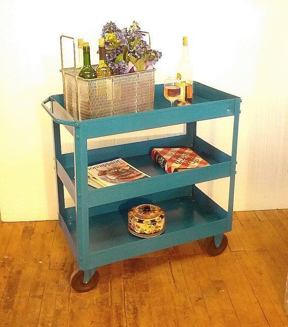 Harbor Freight Utility Cart >> Metal Cart Blue Paint Bar Cart Garden Cart Refurbished ...