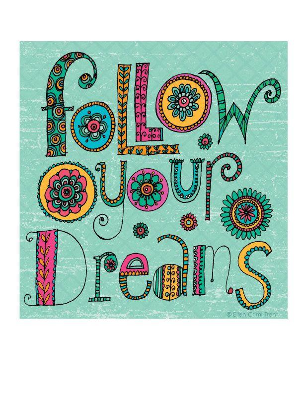 Typography-Follow your dreams- Art Print. $18.00, via Etsy.