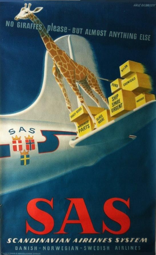 Original vintage poster SAS no giraffes, please - Aage RASMUSSEN