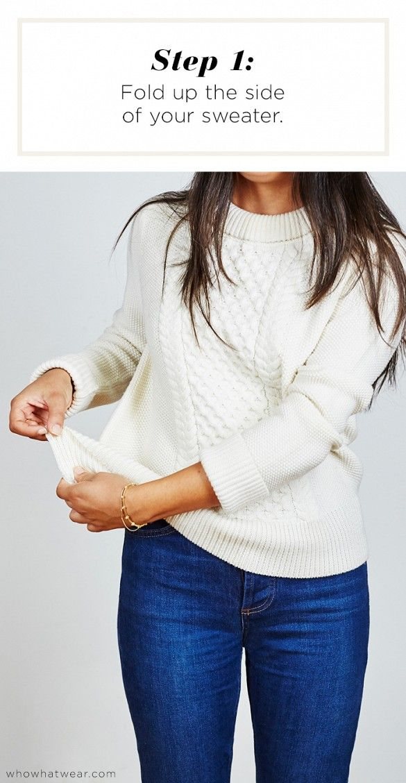 Step 1: Fold up the side of your sweater // Short Girl Sweater Hack