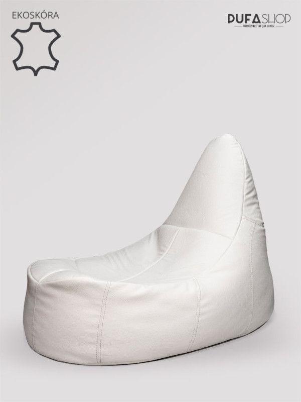 Fotel deluxe ekoskora bialy produkt pufashop