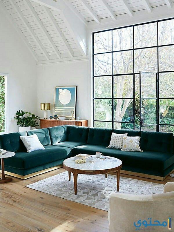 لون الكنب رائع ممكن يدمج معه كنب جلد لون الجمل يكون هالكنب بزاوية على شكل حرف ال Cheap Home Decor House Interior Home