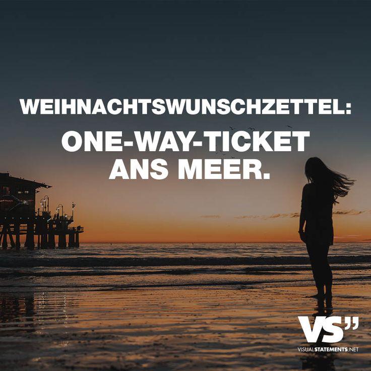 Visual Statements® Weihnachtswunschzettel: One Way Ticket Ans Meer. Sprüche  /