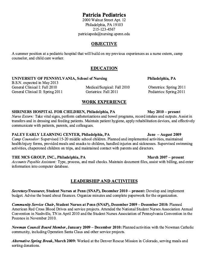 Pin Di Example Resume Cv