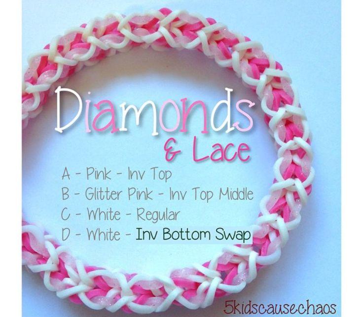 Diamonds & Lace Rainbow Loom Bracelet