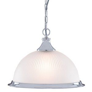 American Diner Satin Silver and Opaque Glass Ceiling Pendant Light, 1044: Amazon.co.uk: Lighting