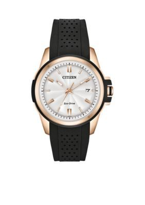 Citizen Women's Women's Stainless Steel Eco-Drive Silicone Strap Watch With Date - Black - One Size
