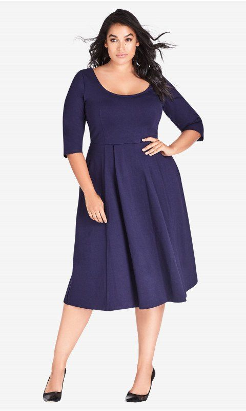 4fd4011a4c5 Shop Women s Plus Size Classic Sleeve Longline Fit   Flare Dress - Navy