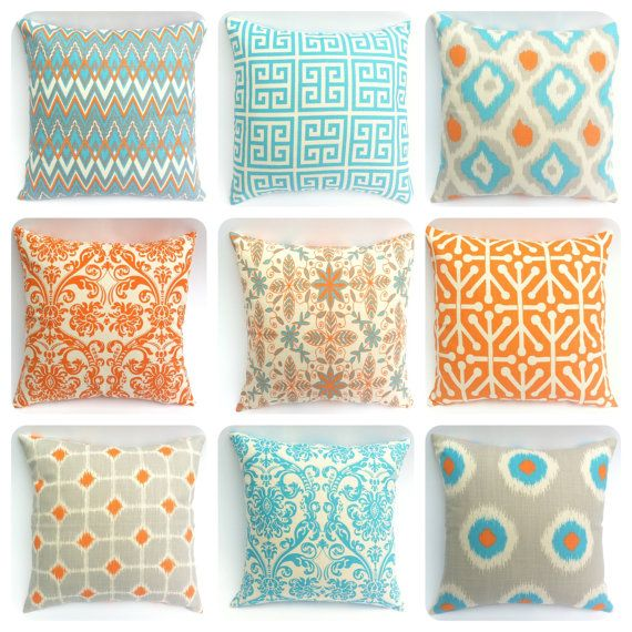 One Orange Light Teal and Grey Zipper Pillow Cover: 12 Sizes Available Orange Throw Zipper Pillow Cover lumbar pillow euro sham