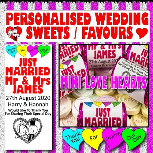 100 Love Hearts Sweets Personalised Wedding Favours / Swe…