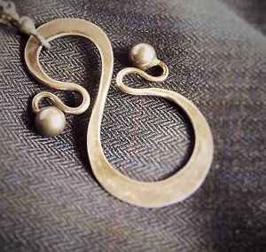 "ANNA GRETA EKER Norwegian Jewelry Sterling Modernist Necklace Norway ""S"" Curves"