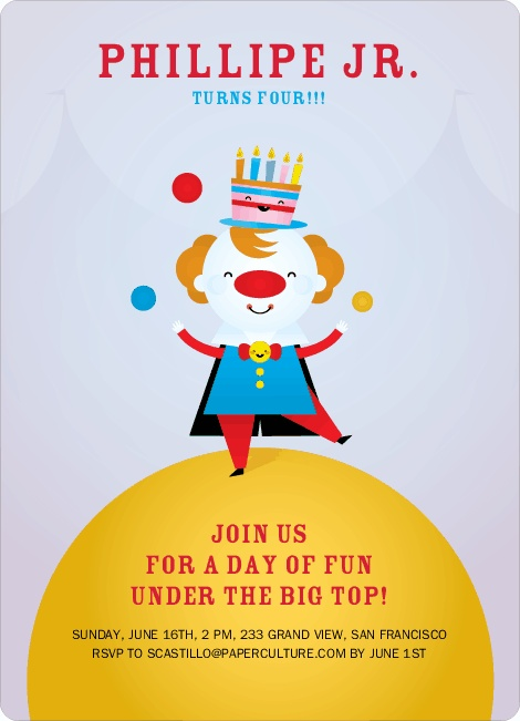 Juggling Clown Birthday Party Invitations  Done and Done!!!