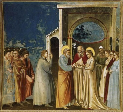 The Marriage of the Virgin - Giotto c.1305 Scrovegni (Arena) Chapel, Padua, Italy