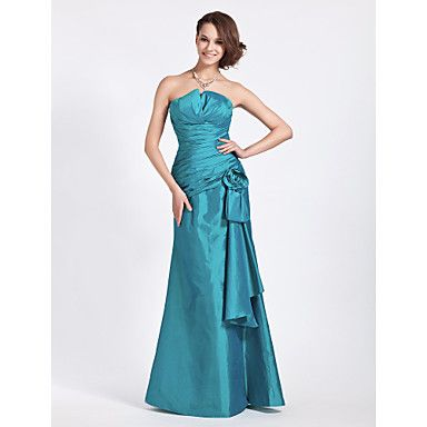 Lanting+Bride®+Floor-length+Taffeta+Bridesmaid+Dress+-+Trumpet+/+Mermaid+Strapless+/+Notched+Plus+Size+/+Petite+withFlower(s)+/+Side+–+USD+$+89.99