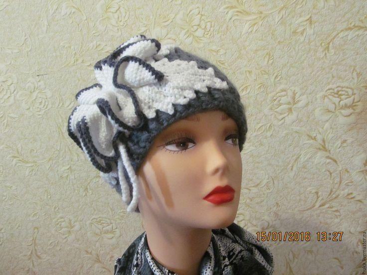 Купить ШАПКА ВЯЗАНАЯ КРЮЧКОМ - серебряный, однотонный, головной убор для женщин, шапка вязаная, крючком