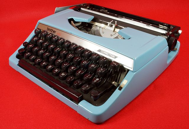 Vintage Blue Manual Brother 100 Correction Typewriter with Carrying Case  eBay Link: http://www.ebay.com/itm/-/302064004607  RD13229  Go back to Tin Can Alley - FOR SALE: http://www.bagtheweb.com/b/PBdAfQ
