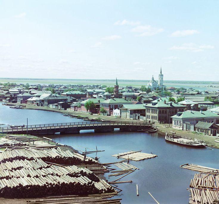С. М. Прокудин-Горский. Вид на г. Тобольск с севера[-востока] с колокольни Преображенской церкви. 1912 год