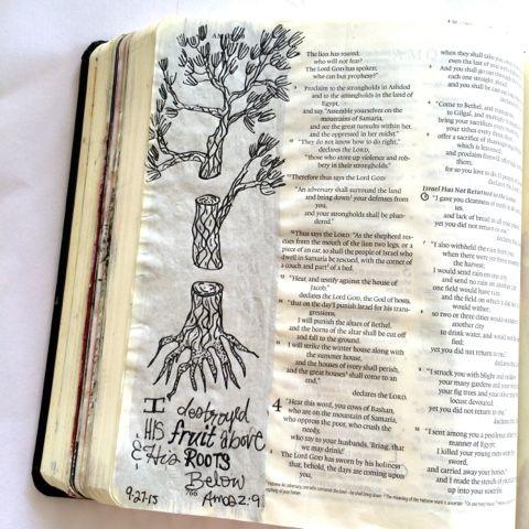 Free Little Bird Studio: Illustrating Amos 2:9 bible journaling illustrated faith