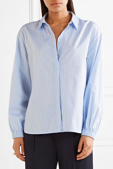 Elizabeth and James - Estelle Striped Cotton-poplin Shirt - Light blue