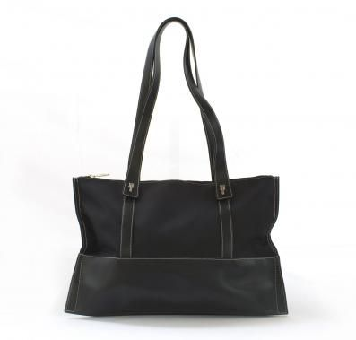 Original 1990's bag by Lamarthe Paris. Black leather and fabric. Classic design with refined details and modern.