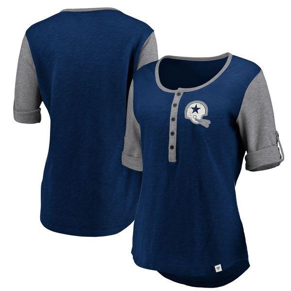 Women S Nfl Pro Line By Fanatics Branded Navy Heathered Gray Dallas Cowboys True Classics Henley T Shirt Women S Henley Detroit Tigers T Shirts Shirts Blue