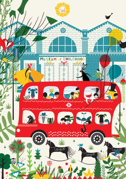 Day trippers - The joy and excitement of arriving at the Museum of Childhood. - artwork by Thereza Rowe - #illustration #bus #london