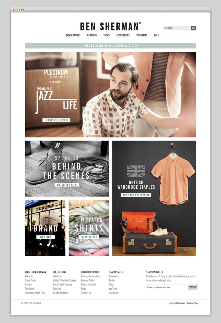 Online Clothing Store {website layout - 3 column grid} // Ben Sherman #Responsive #ResponsiveDesign #Design #Website # Web #UI #GUI #UX #WebDesign