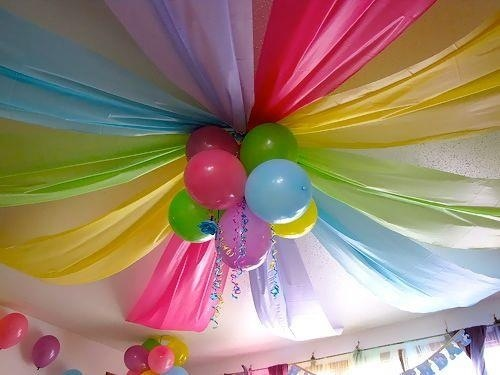 Dollar store plastic table cloths and balloons for an inexpensive ceiling decoration.