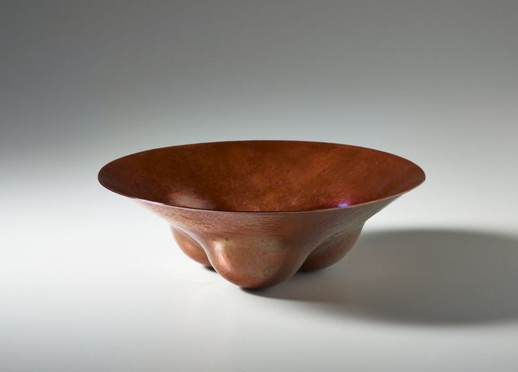 """JACK DA SILVA TANGENTS 3  Functional bowl. Copper, raised with multiple centers.  4.5"""" x 9"""" x 9""""  Included in """"Tangents: Work by Jack da Silva,"""" 2015. Photo: M. Lee Fatherree"""