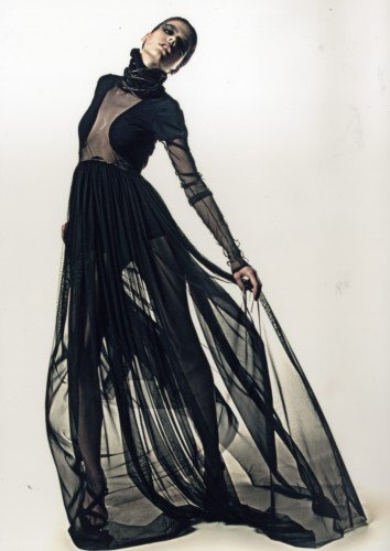 Sheer black maxi dress with integrated bolero - modern elegance; glam chic style // Dejan Despotovic