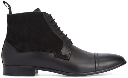 M.STUDIO Black Leather and Suede Frédéric Lace Boots