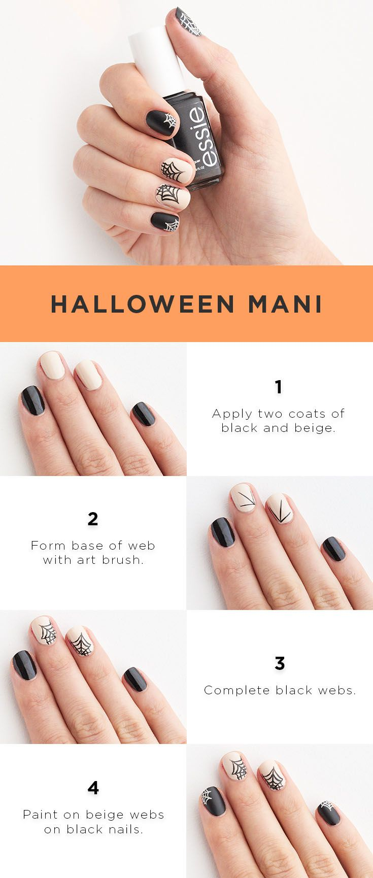 "Make this boo-tiful manicure yours in four easy steps. Apply two coats each of essie ""licorice"" and bliss ""in this day & beige"" onto your nails. Using an art brush, paint three black lines onto beige nails to form the base of the web. Finish the webs in black and apply a topcoat to seal. With beige, paint small webs using the same method on the black nails. Finish with topcoat. Shop essie and bliss nail polish at Kohl's."
