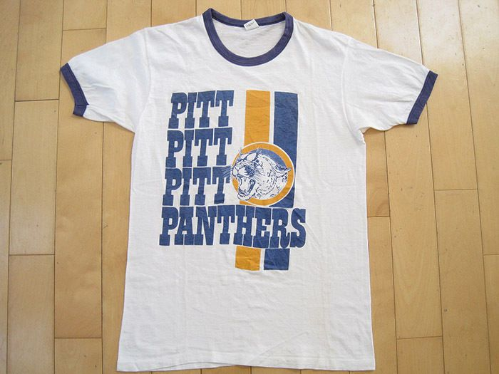 INCREDIBLE LOGO!! 70s vtg PITT PANTHERS ringer T SHIRT pittsburgh SMALL