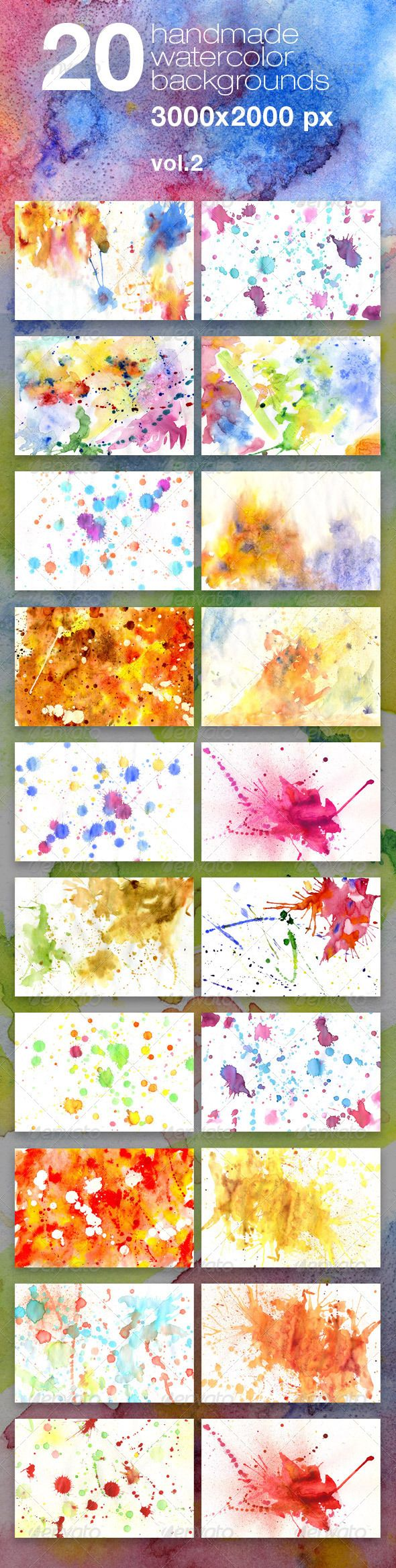 Graphic River 20 Handmade Watercolor Texture Backgrounds Textures -  Miscellaneous 460244