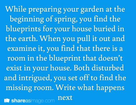 While preparing your garden at the beginning of spring, you find the blueprints for your house buried in the earth. When you pull it out and examine it, you find that there is a room in the blueprint that doesn't exist in your house. Both disturbed and intrigued, you set off to find the missing room. Write what happens next.