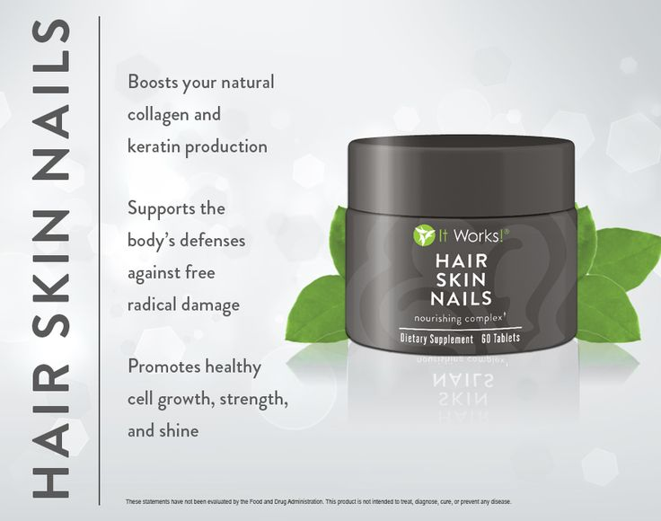 Hair Skin Nails // Nourish, moisturize, and strengthen your hair, skin, and nails from the inside out with support for healthy cell growth, natural collagen and keratin production, and a boost to your body's free radical fighting defenses. //  nealeysfitwraps.myitworks.com