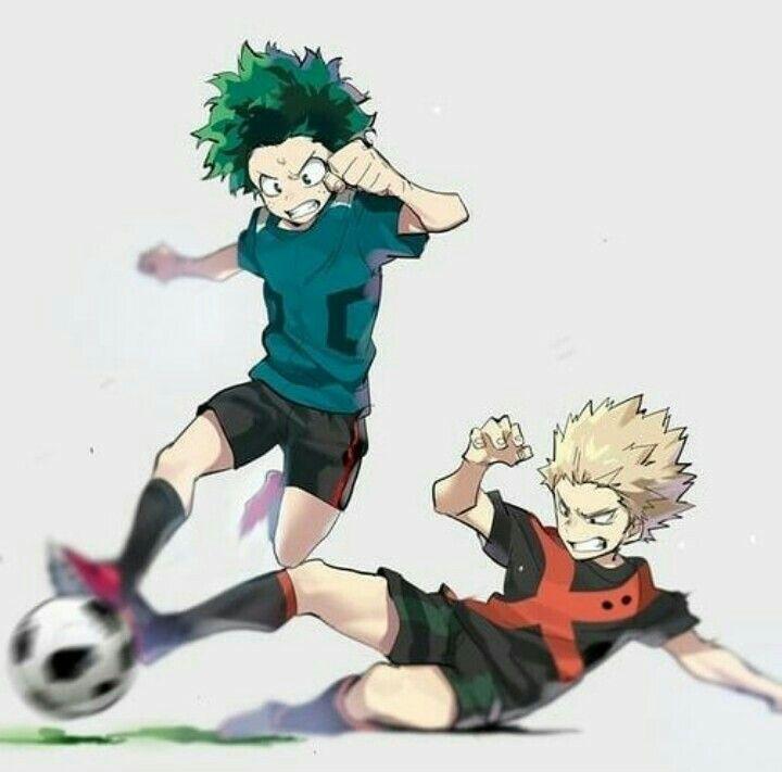 Bakugou And Midoriya Playing Football My Hero Anime Boku No Hero Academia