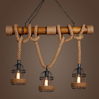 Vintage Pendant Light Bamboo Three Head Rope Pendant Lamp Industrial Bar Cafe Restaurant hanging lamp luminaires Light Fixture