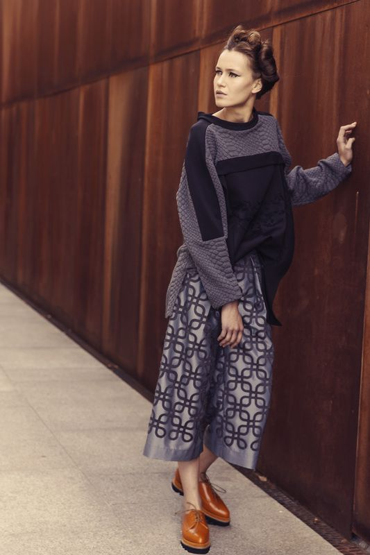 Grey blouse with  black embroidery detail and laser cut  grey pant