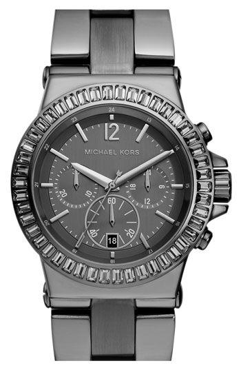Michael Kors Gunmetal Bel-Air Crystal Bezel Chronograph Watch