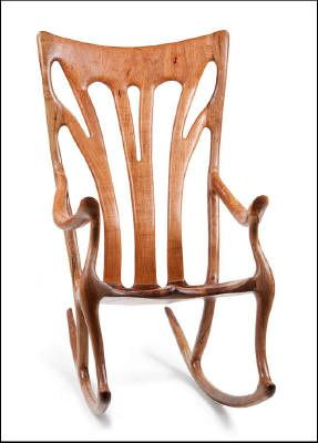 Custom made Rocking Chairs handcrafted by Scott and Stephanie Shangraw and inspired by Sam Maloof