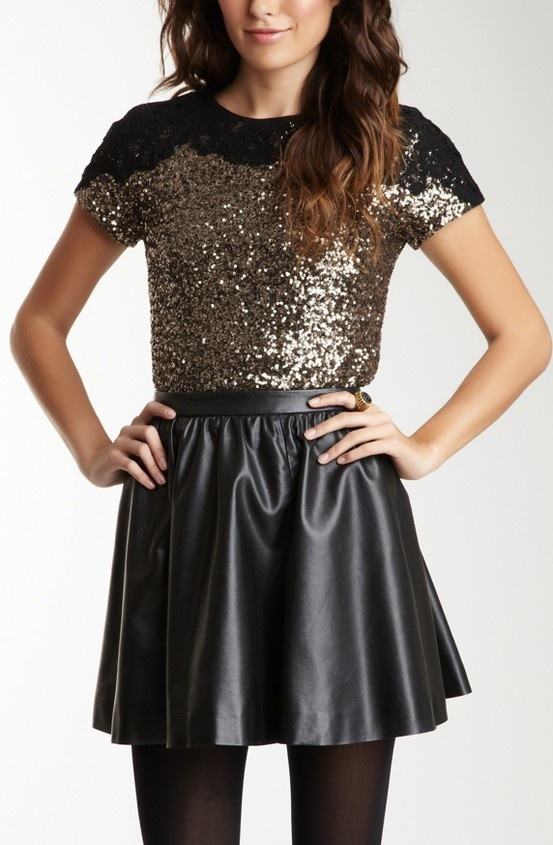 sequins + leather