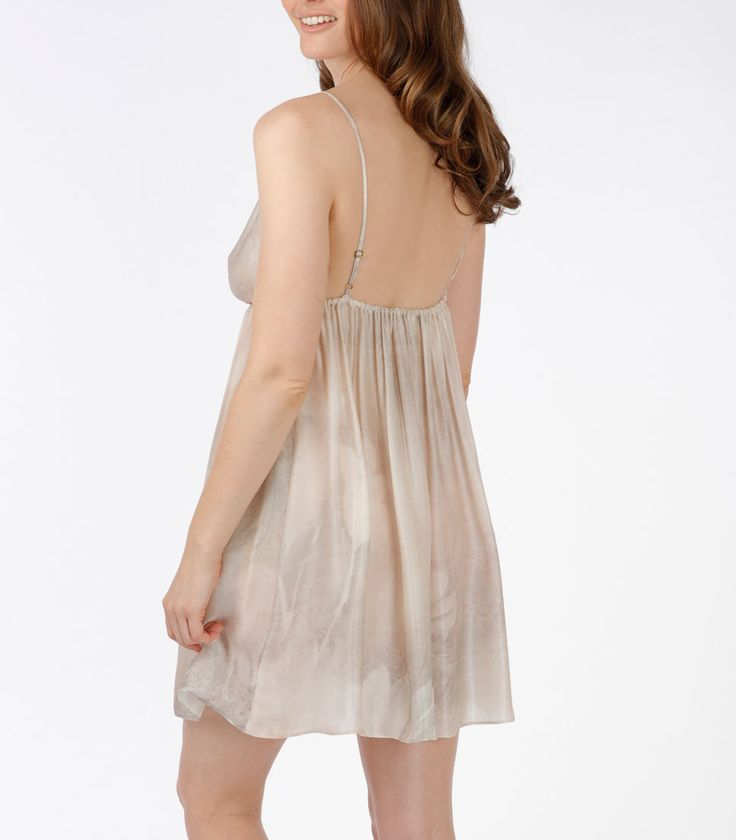 The Winter Solstice Chemise: Blushes of silver and pink are blended with warm greys which compliment most skin tones. The Winter Solstice Grecian inspired chemise has a gathered A-line body and adjustable spaghetti straps. 100% Silk.  Made in Canada.