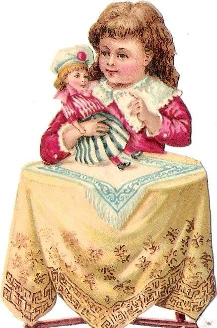 Oblaten Glanzbild scrap die cut chromo Kind child Puppe doll poupee