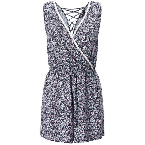 Miss Selfridge PETITE Ditsy Print Playsuit ($44) ❤ liked on Polyvore featuring jumpsuits, rompers, mid blue, petite, blue romper, playsuit romper, miss selfridge and blue rompers